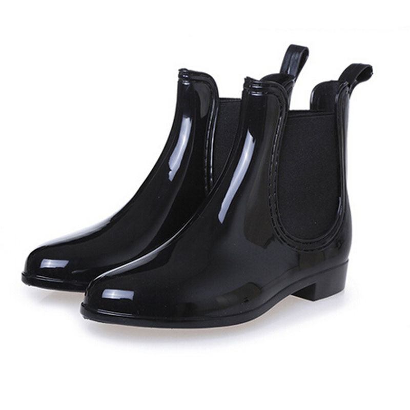 Aliexpress.com : Buy Fashion Solid Women Rain Boots Low Heel Ankle ...