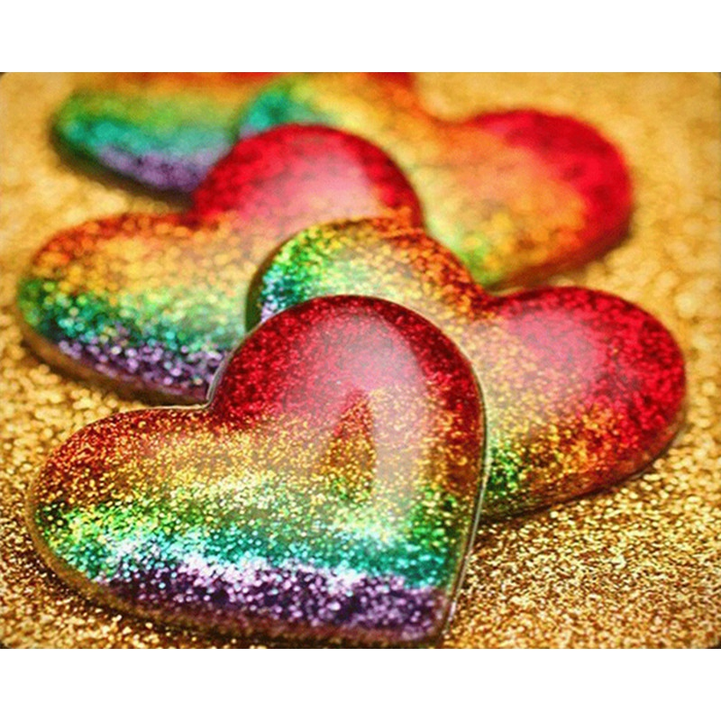 HOT-Rainbow Heart Love Picture <font><b>30</b></font> x <font><b>40</b></font> Diamond Embroidery 5D Diamond Painting Cross Stitch Picture Rhinestone Diamond image