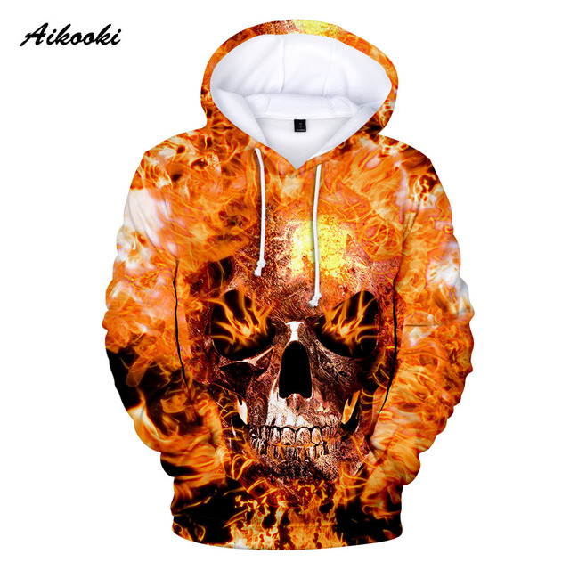 3D Print Blue Fire Skull Hoodies