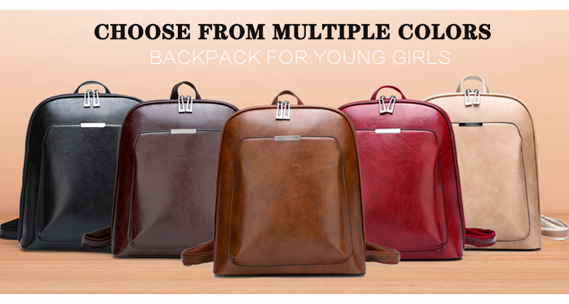 HTB1ENtBXfc3T1VjSZLeq6zZsVXaH 2019 Women Leather Backpacks For Girls Sac a Dos School Backpack Female Travel Shoulder Bagpack Ladies Casual Daypacks Mochilas