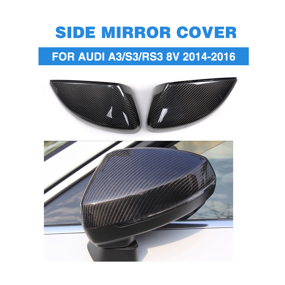 Carbon Fibre without Side Assist Replacement Style Rear View Mirror Covers for Audi A3 / S3 / RS3 8V 2014-2016