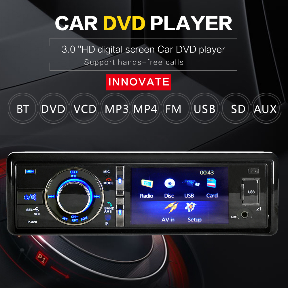 3 Single 1 Din Car DVD Player Touch Screen Radio Stereo Detachable Panel Video Bluetooth Subwoofer