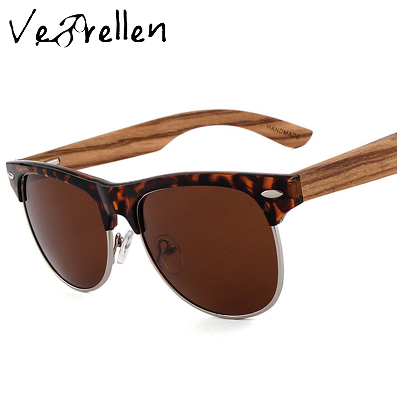 VeBrellen Half Metal Bamboo Sunglasses Men Women Brand Designer Glasses Mirror font b Polarized b font