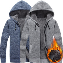 fall and winter of 2018 new men knitting cardigan and thick wool zipper hooded casual a warm sweater