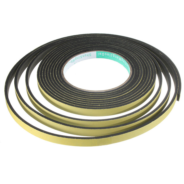 5m*10mm*2mm/3mm Single Sided Adhesive Waterproof Weather Stripping Foam  Sponge Rubber Strip Tape For Window Door Seal Strip