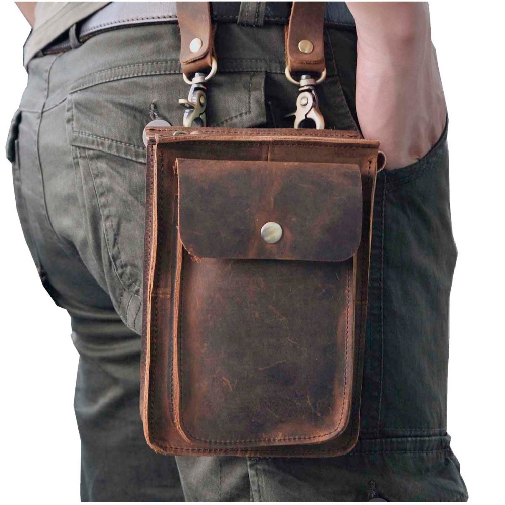 Crazy Horse Leather Multifunction Casual Daily Fiber Messenger Messenger One Shoulder Designer Bag Waist Belt Bag Phone Pouch 021