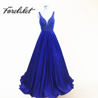 Deep V Neck Beaded Prom Dresses 2017 Sexy Backless Navy Blue Satin Evening Party Gown Pageant