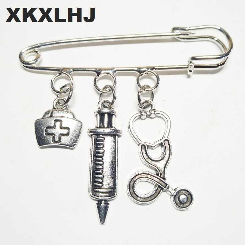 XKXLHJ 2018 New Nurse Cap Medical Brooch Syringe Stethoscope Cute Brooch Jewelry Gift