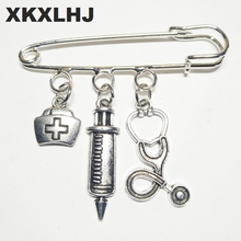 XKXLHJ 2018 New Nurse Cap Medical Brooch Syringe Stethoscope Cute Jewelry Gift