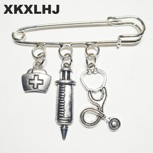 XKXLHJ 2018 New Nurse Cap Medical Brooch Syringe Stethoscope Cute Brooch Jewelry Gift(China)