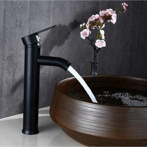 Image 4 - Смеситель для ванной Biggers, черный смеситель для раковины из нержавеющей стали с одной ручкой, смеситель для холодной и горячей воды, бесплатная доставка