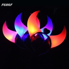 FGHGF 1Pc Devil Horns LED Flash Light Colorful Halloween Costumes Party Light up Hair Hoops Headwear Head Band Party Supplies