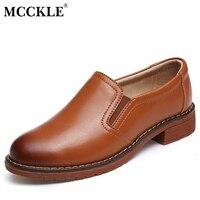 MCCKLE Frauen Müßiggänger Mode Nähen Schuhe Gummiband Low Heels Auf Wohnungen Vintage Starke Ferse Weiblichen Schuhen