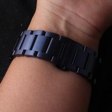 Высокое качество браслет для наручных часов из нержавеющей стали темно-синий ремешок для наручных часов подходит умные наручные часы для мужчин и женщин, Шестерни S2 S3 S4 модная новинка; стильные