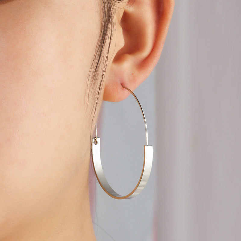 Semicircle Metallic Band Golden Silver Wide & Thin Band Big OL Style Piercing Hoop Earrings for Women