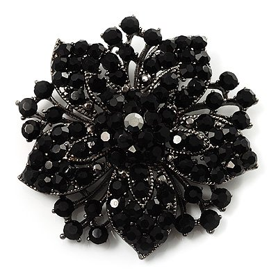 2.2 pulgadas Vintage Silver Rhinestone negro Crystal Starfish Brooch Party Prom Jewelry Regalos