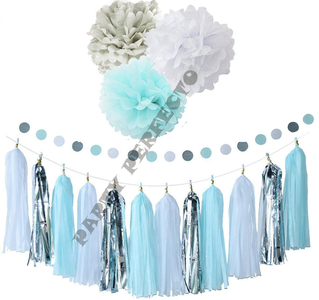 26xNew mixed size baby blue white silver asst tissue paper bunting ...
