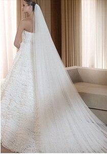 Image 5 - Ücretsiz kargo gerçek fotoğraf 5M beyaz/fildişi düğün duvağı çok katmanlı uzun gelin peçe kafa peçe düğün aksesuarları sıcak satış MD03034