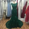 Real Picture Mermaid wedding dresses 2016 Green Beads Crystal Long Wedding Dress Short Sleeves Bridal Dresses robe de mariage