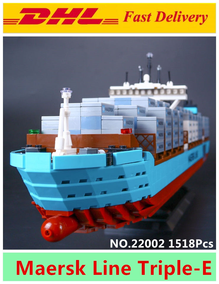 Lepin 22002 1518Pcs Technic Series The Maersk Cargo Container Ship Set Educational Building Blocks Bricks Model Toys Gift 10241 new lepin 16042 pirate ship series building blocks the slient mary set children educational bricks toys model gift with 71042