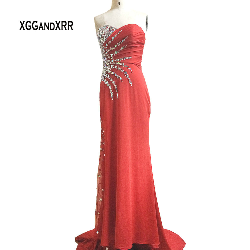 Sexy Sweetheart Red Long   Prom     Dress   Elegant Off Shoulder Crystals Backless Chiffon Tulle Evening   Dress   Satin Formal Party Gown