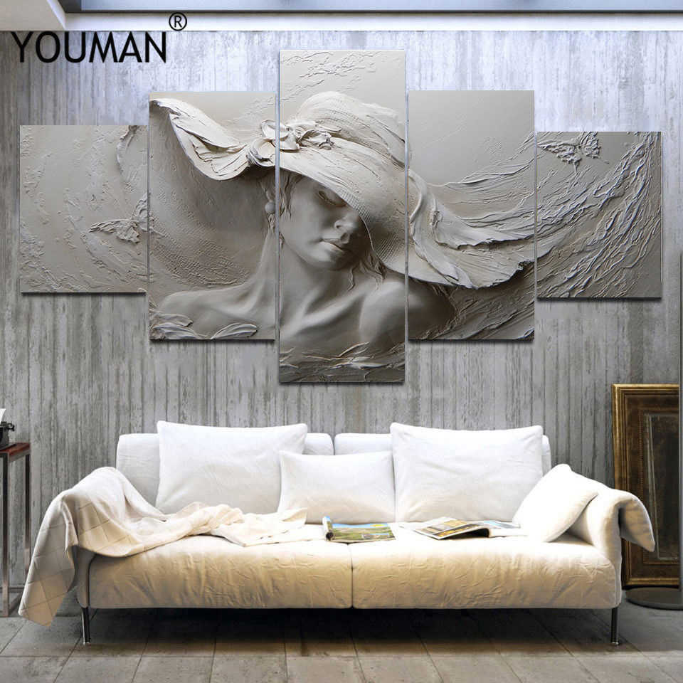 Modern 3D Stereoscopic Embossed Canvas Painting Gray Beauty Oil Painting Modern Abstract Art Wall Poster Living Room Bedroom