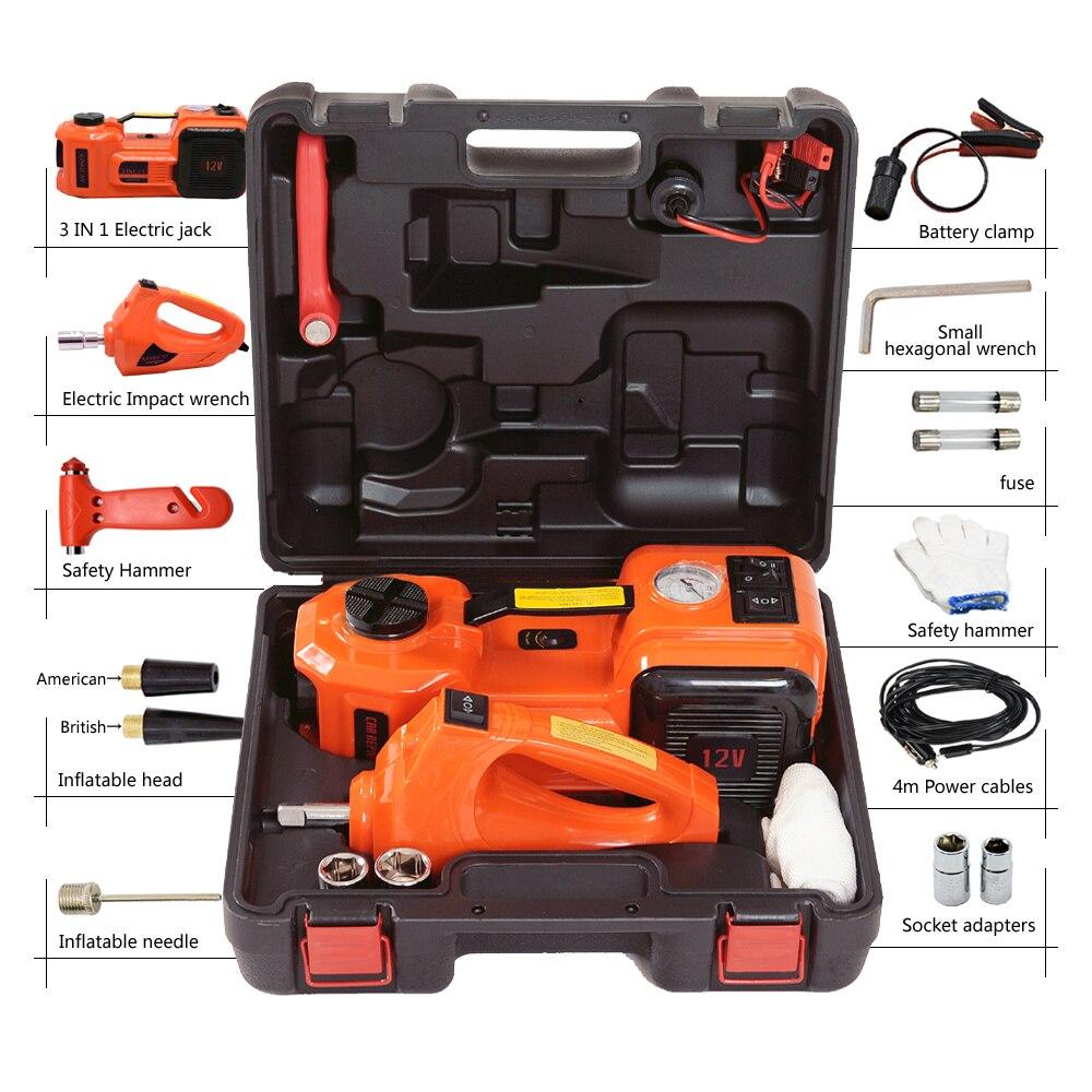 Gato hidráulico eléctrico de 12V y 5 toneladas, neumático portátil, llave de impacto, llave de impacto, Inflador de neumáticos, luz LED 4 en 1 - 2
