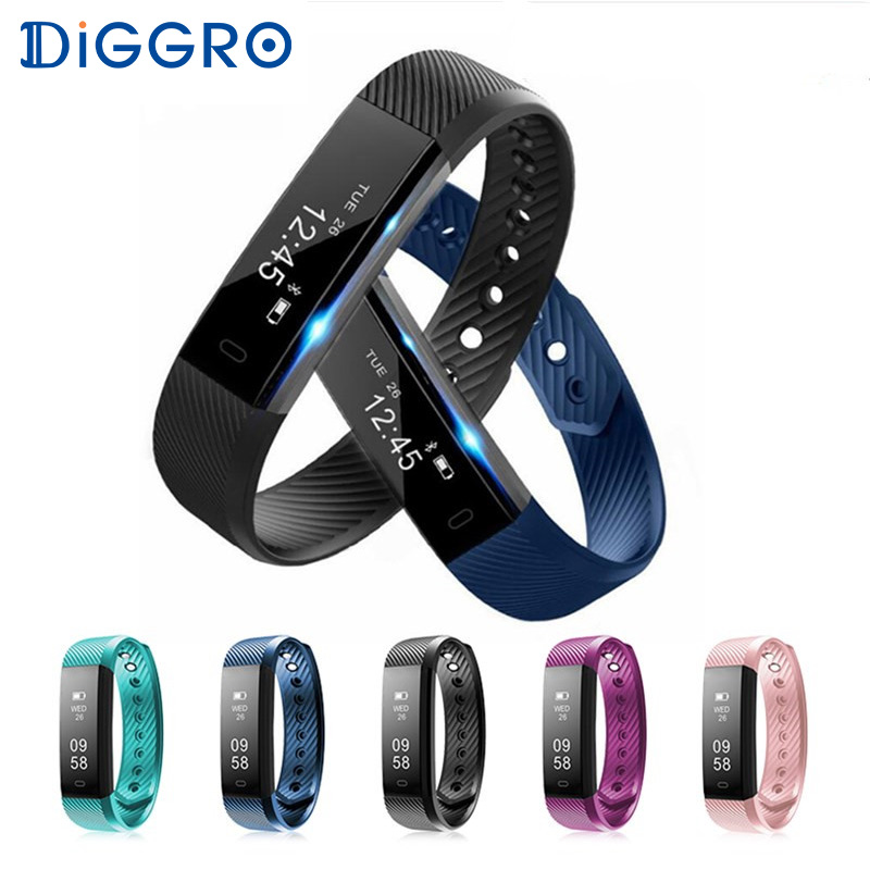 ID115 HR Diggro Smart Bracelet Heart Rate Monitor Activity Tracker Smart Band Waterproof Wristbands For IOS Android VS Fitbit