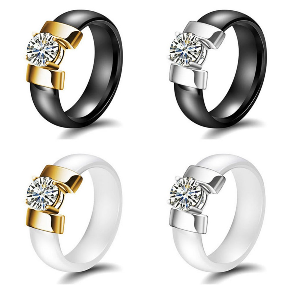 White Black Ceramic Rings For Women Titanium Steel Female Wedding Party Ring Jewelry