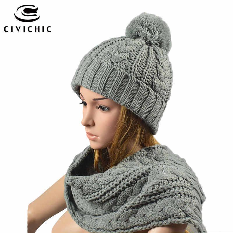 CIVICHIC 5 Colors Handmade Winter Thicken Knitted Scarf Hat Set Crochet  Pompon Headwear Twist Warm Faux 7608e41fccf7