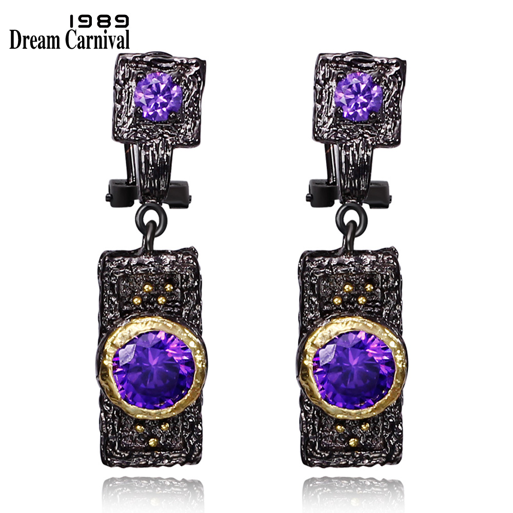 DreamCarnival 1989 Vintage Purple Zircon Earrings for Women Black Gold Color boucle d'oreille Hip Hop Luxury Costumes Jewelry