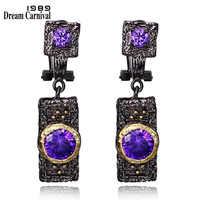 DreamCarnival 1989 Vintage Purple Zircon Stone Black Gold Color Hip Hop Luxury Costume Jewelry Wholesale Drop Earrings E024