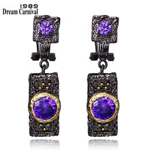 DreamCarnival 1989 Vintage Purple Zircon Earrings untuk Wanita Warna Hitam Emas boucle d'oreille Hip Hop Kostum Perhiasan Mewah(China)