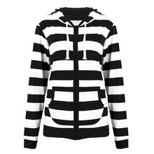 Laamei Women Zipper Hooded Baseball Jacket Strip 2018 Autumn Winter Hoodies Sweatshirt Long Sleeve Hoodie Tops Plus Size 5xl(China)