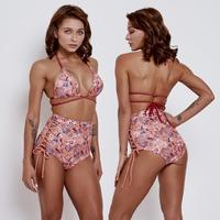 New 2pcs Separated High Waist Bikinis Set Retro Print Women Swimwear 2019 Female Sexy Strappy Swimsuit Bathing Suit
