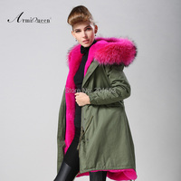 New Fashion Women Winter Super Long Coat fur collar Hooded Parka Jacket faux fur lined coat mr