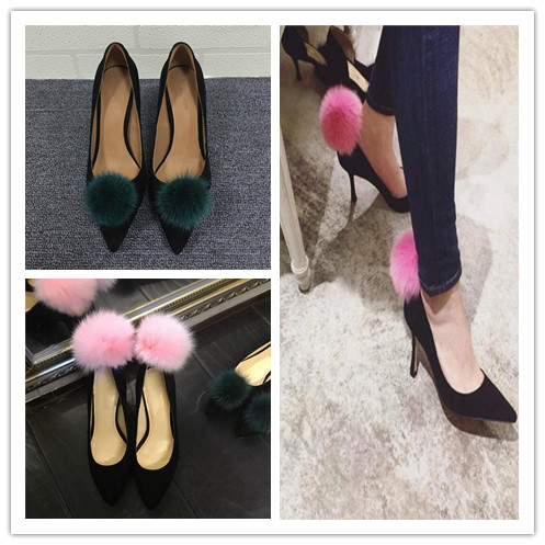 ФОТО Exquisite Vintage Women Fur Ball High Heel Pumps Suede Pointed Toe Banquet Shoes Fashion Party Dress High Heel Shoes