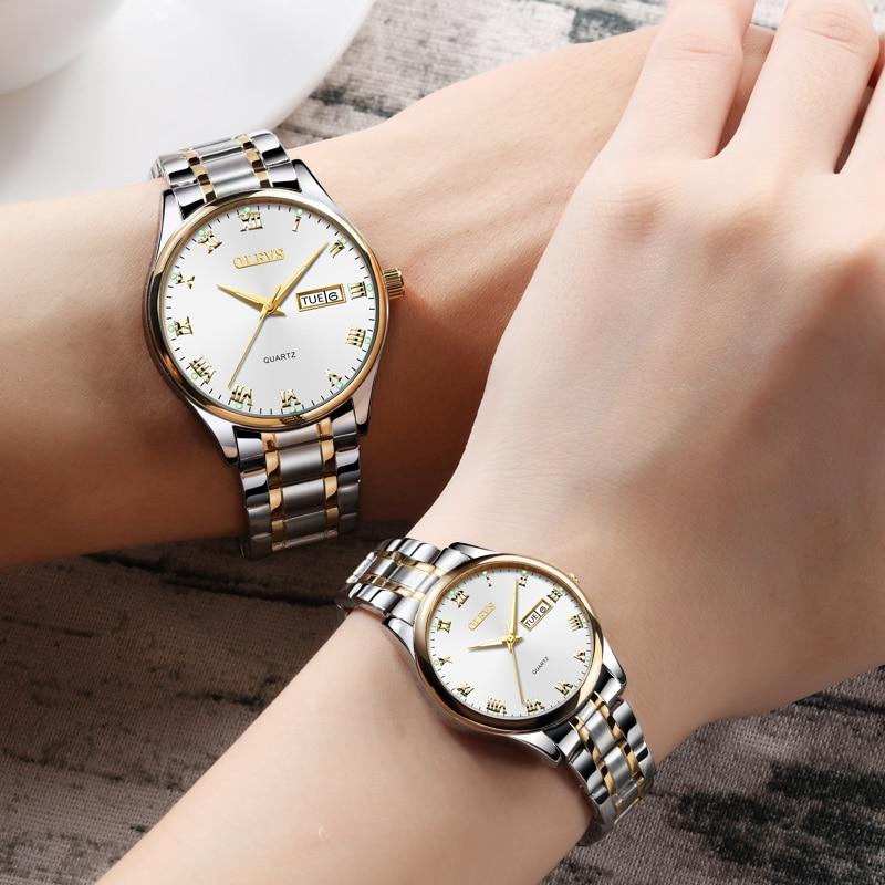 OLEVS  Luxury Brand Lover Watch Women Waterproof Couples Watches Female Wristwatches Quartz Men Stainless Steel Watch 1Pair
