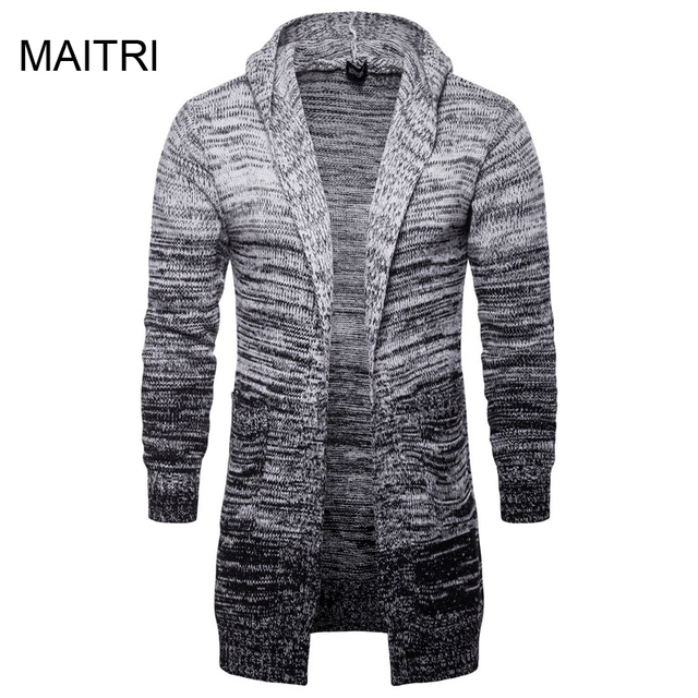 08920ecfdac7 MAITRI 2018 Fashion Winter Warm No Button Long Hooded Sweater Men Solid  Gray Sweatercoat Chompas Para Hombre