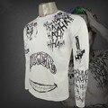 Comando Suicida de Halloween Camiseta Tatuaje Cosplay El Joker Camiseta Payaso Joker camiseta Cos Blanco y fleshcolor