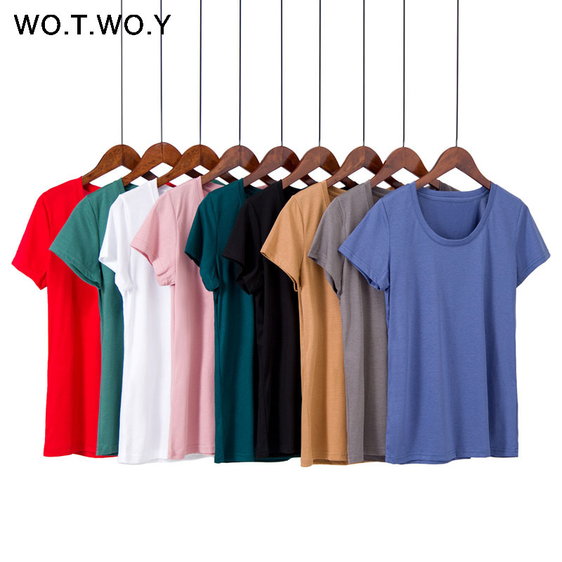 WOTWOY Summer 9 Colors Plus Size M-4XL   T  -  shirts   Women O-neck Short Sleeve Breathable Soft Tees Women Tops Black Pink   T     shirts