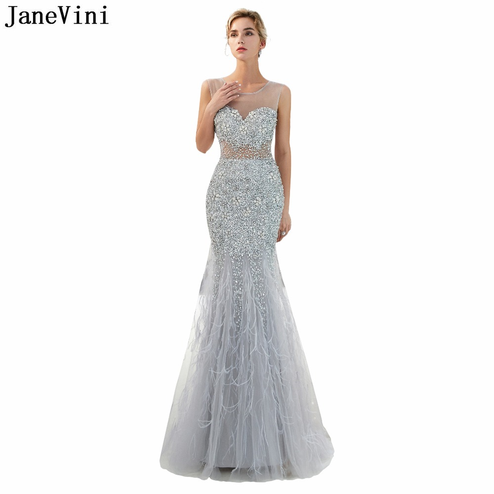 JaneVini Luxury Mermaid   Bridesmaid     Dresses   Heavy Beading Sheer Scoop Neck Backless Tulle Prom Gowns with Feathers Floor Length