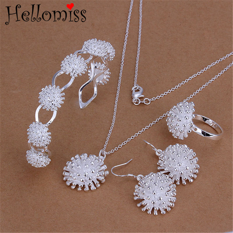 Sterling Silver Jewelry 925 Sets for Women Firework Pendant Necklace Bracelet Ring Earrings 4 Pcs Wedding Jewelry Set for Brides