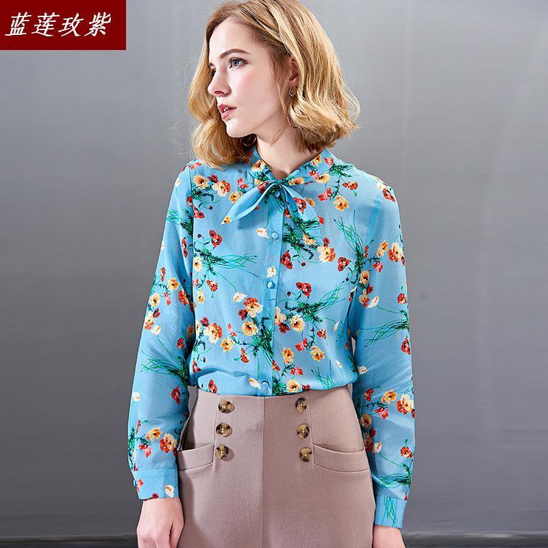 Mode féminine 100% blouses en soie chemises femmes 2019 printemps et automne slim à manches longues impression chemise en soie blouse dame en gros