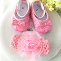 Kids little pink flowers Shoes Girl Princess Lace Headband Cute Infant Girl Toddler Shoes Set Newborn Photography Props 5TX05