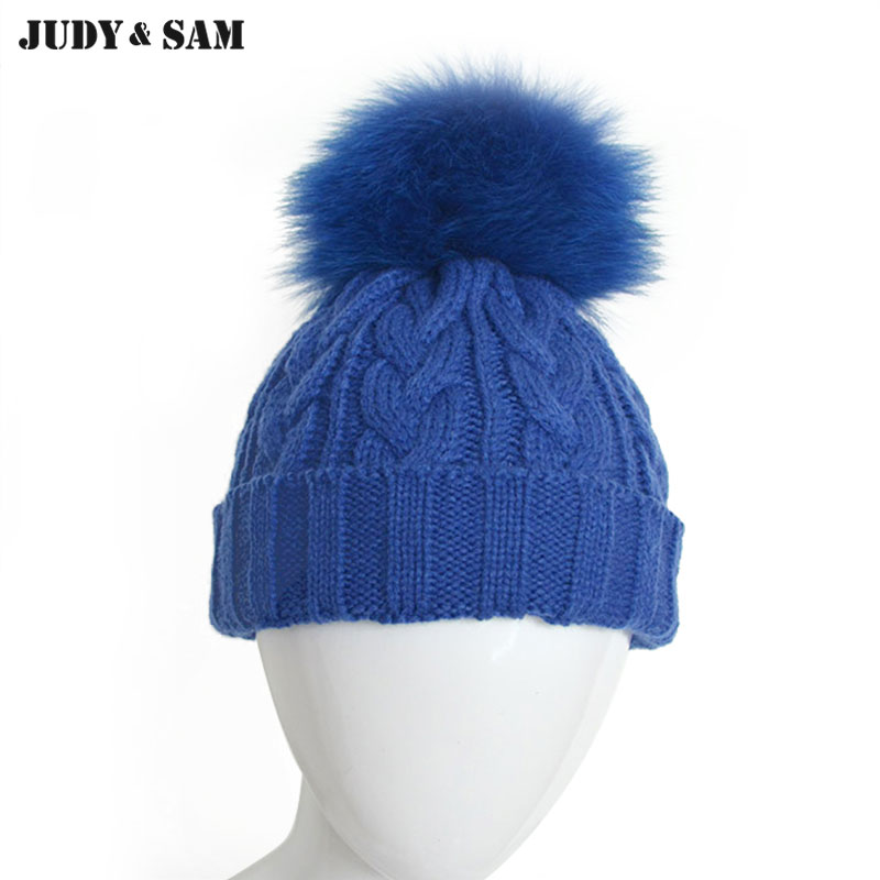 Brand New Wool Blend Cable Knitted Cap With Fox Fur Pompon Warm Winter Children Beanie Hats