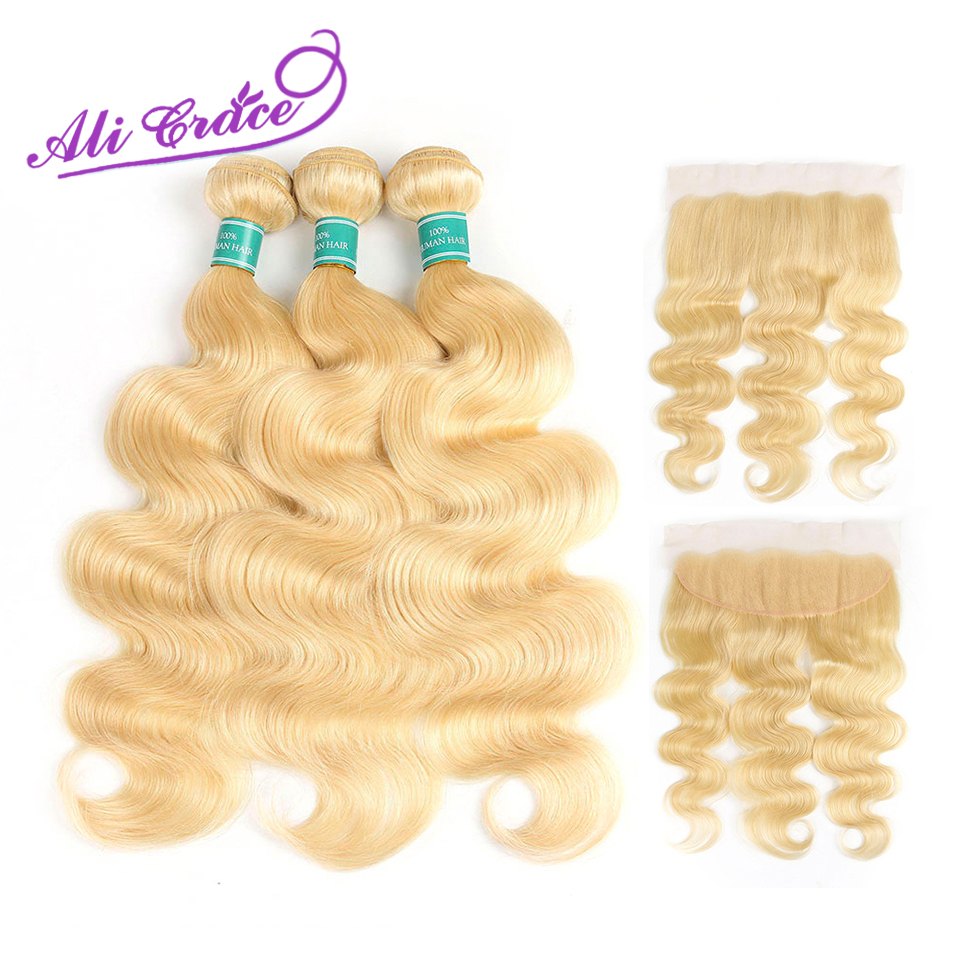 Ali Grace Hair 613 Blonde Bundles With Frontal Peruvian Body Wave Hair 13 4 Ear to