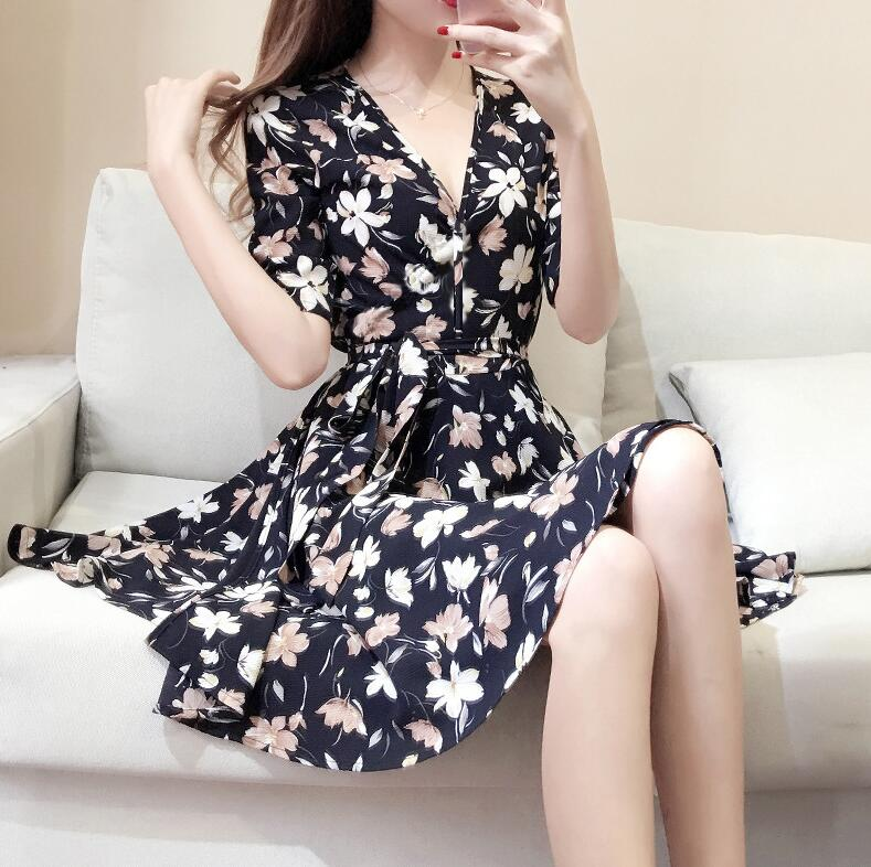 2018 New Women Summer V Neck Vintage Floral National Chiffon Dress Party Beach Dress Floral Sundress elegant summer dress Kleid