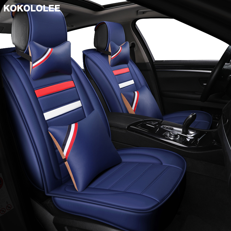 kokololee Universal Leather Car seat cover for Volkswagen all models polo golf tiguan Passat jetta VW Phaeton touareg Phaeton CC