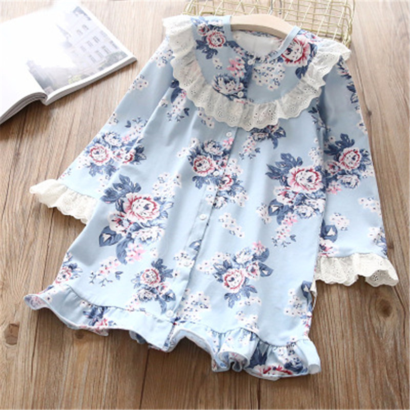 Hurave hot sale Baby Girl Printing O-neck Dress Clothes Children Long Sleeve clothing Kids ruffles lacing Casual cotton Dresses